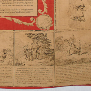 Red cotton handkerchief printed with black design on cream ground showing military activities. At center are instructions on instruction on the stripping and assembly of the 1886M93 Lebel rifle. Printed at top: Muchoirs D'instruction Militaire (military training handkerchief).