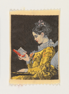 Woven souvenir based on the painting 'A Young Girl Reading' (c. 1776) by Jean-Honoré Fragonard (1732–1806). Red, gold-yellow, gray, and dark brown on white warp.