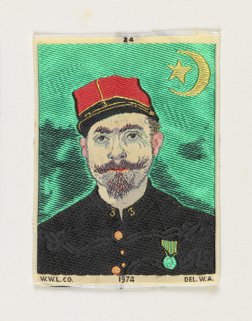 Woven souvenir based on the painting 'Portrait of Milliet, Second Lieutenant of the Zouaves' (1888) by Vincent van Gogh (Dutch, 1853-1890).