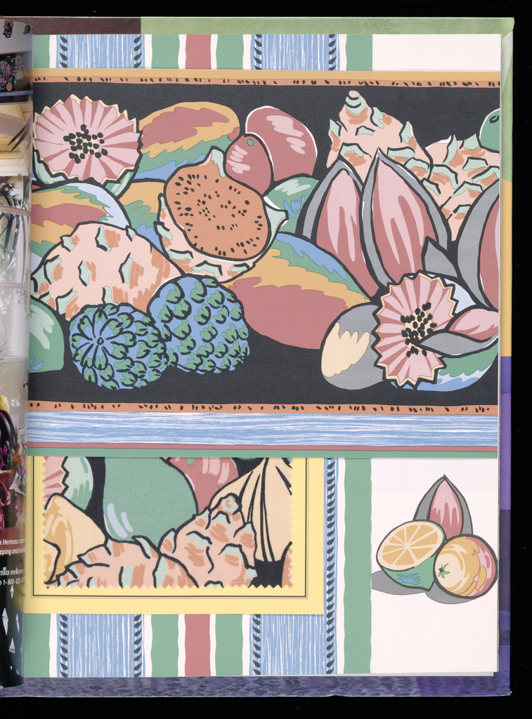 Sample book of wallcoverings and coordinated fabrics devoted entirely to authentic Mexican designs. The Mexican palette is documented in five design groups: Pre-Columbian, Calla Lilly, Fruit Market, Pottery and Folkloric Splendor.