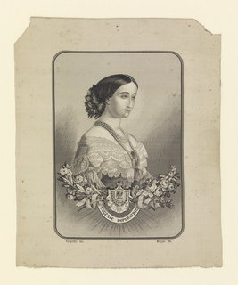 "Black and white jacquard woven portrait of Empress Eugénie of France (1826-1920). Lower half of the portrait is ornamented with sprays of roses, an escutcheon and a ribbon that reads ""Eugénie Imperatrice."" At the lower left and right are the woven signatures ""Carquillat Tex."" and ""Bruyas del."" Woven by Michel-Marie Carquillat (d. 1884) after a portrait by Marc-Laurent Bruyas (1821-1896)."