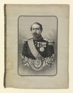 "Black and white jacquard woven portrait of Napoleon III. Lower half of the portrait is ornamented with sprays of oak and laurel leaves, an escutcheon and a ribbon that reads ""Napoleon III Empereur."" At the lower left and right are the woven signatures ""Carquillat Tex."" and ""Bruyas del."" Woven by Michel-Marie Carquillat (d. 1884) after a portrait by Marc-Laurent Bruyas (1821-1896)."