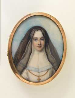 Oval box with metal rim and ivory face with watercolor portrait of a nun.