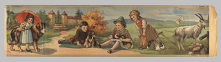 Children's frieze, featuring four children at play, two girls and two boys. Also shown are a large dog, a goat and two rabbits. The children and animals are situated on a walk which leads up to a large gate.
