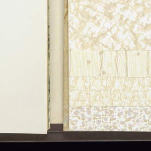 Book contains small textural patterns including wood grains, weaves and splatters.