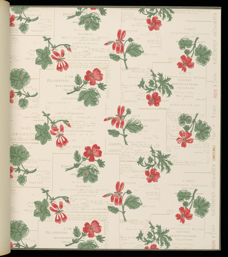 "161 pages of 43 sidewall and border designs. Includes ""Courtyard"" and Courtyard Texture"", Wisconsin"", ""Paper Butterfly"" by Ilonka Karasz, and ""Sentimental Journey"" by Victor Proetz."