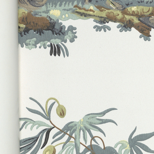 Documentary collection of French-inspired designs including paisley, toile, Chinoiserie and crewel designs. Each design shown in mulitple colorways. Matching fabric swatches included. Color photograph shows wallpaper in situ.