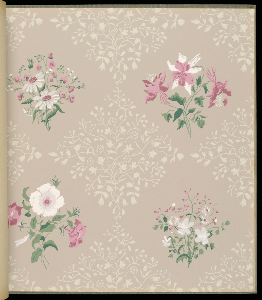 """161 pages of 43 sidewall and border designs. Includes """"Courtyard"""" and Courtyard Texture"""", Wisconsin"""", """"Paper Butterfly"""" by Ilonka Karasz, and """"Sentimental Journey"""" by Victor Proetz."""