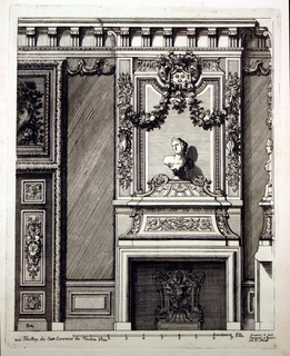 Design for an ornate mantlepiece. On the mantlepiece is a bust of a woman's head turned left and ornamental garlands. The panel next to the mantlepiece also has decorative moulding.