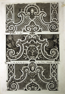 Three designs for ornate headboards. Each headboard has intricate curving details throughout, and all end in two volutes on the side.