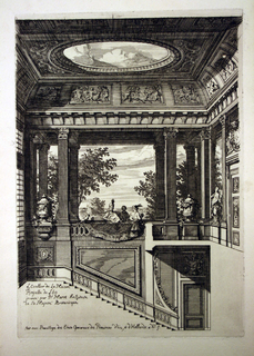 Design for the interior of a building. In the foreground, a staircase leads up to a balcony with columns and sculptural elements. Three figures are pictured in the center of the balcony. The opens up to the outside and there is a view of the landscape. The ceiling has a large oculus.