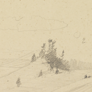 Verso: Snowy hills, wooded hilltop (left view of recto)