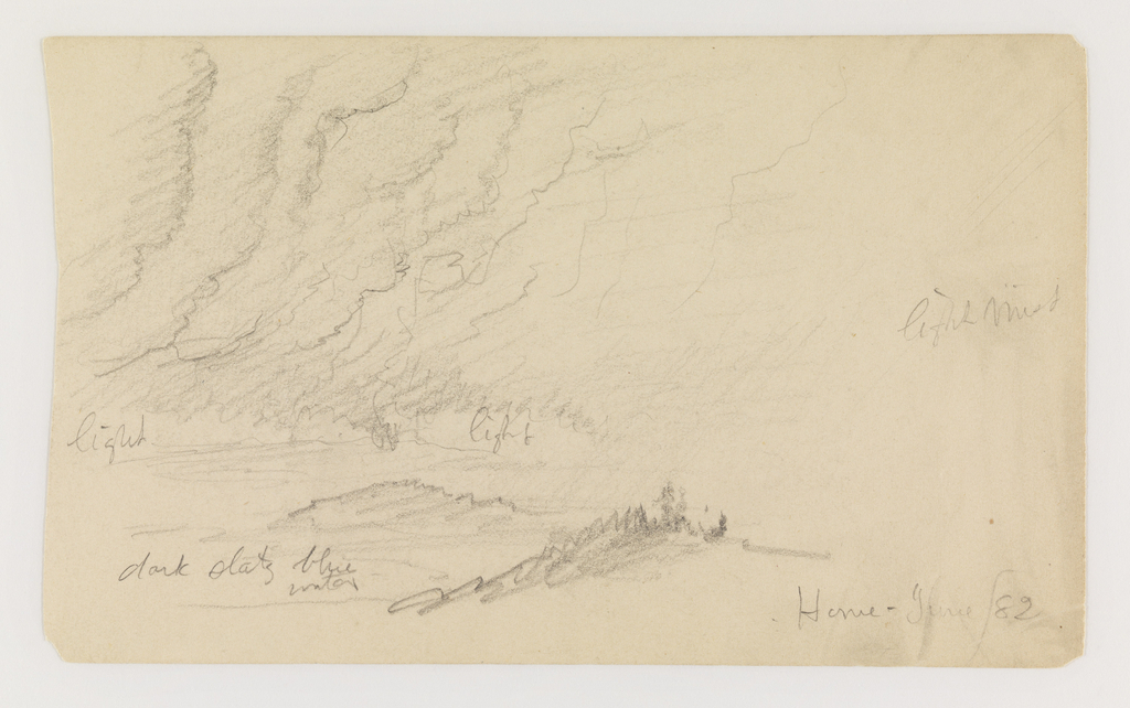 Landscape of river with mist and notations in graphite.