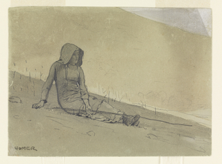 Horizontal view of a girl, wearing a sunbonnet and holding a long stick in her left hand, seated on a hillside with hill in the background.