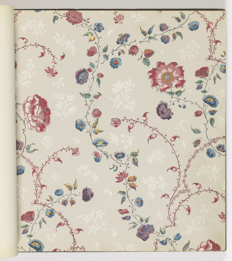 """""""A Wallpaper collection that mirrors the spirit of our 13 original states..."""" Printed by machine, lithography and silk screen. Includes """"Williamsburg Restoration Reproductions"""" and """"Williamsburg Restoration Commemorative Paper Hangings."""" Twenty designs with color alternates."""
