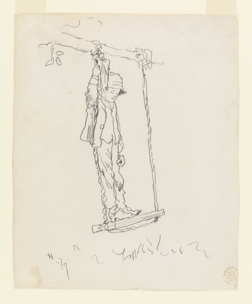 Vertical view of a boy wearing a hat, standing on the seat of a swing hung from the branch of a tree, and holding with his right hand the rope on his right.