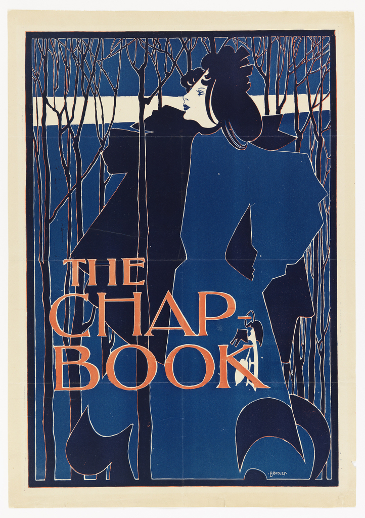 Poster for The Chap-Book, August 1894. A woman dressed in blue at the center of the image stands in a wood, holding a pair of skates. The words The Chap / Book, printed in red cover the lower left portion of the poster. Two-color lithograph: red and blue.