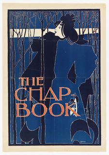 Poster for The Chap-Book, August 1894. A woman dressed in blue at the center of the image stands in a wood, holding a pair of skates. The words The Chap / Book, printed in red cover the lower left portion of the poster.