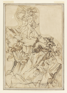 Pluto abducting Proserpine and a putto driving Cerberus with a trident are on top of a rock, out of which flames lick.