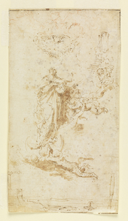 Drawing of the Virgin Mary at center right looking up, surrounded by flying winged putti.