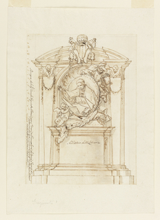 A pedestal stands in front of a niche, flanked by pilasters shaped like gaines and showing cherubim in the capitals. Two angels, one of whom is flying, support a medallion portrait of the pope. His coat of arms is in front of the pediment. The scale is at the left edge.