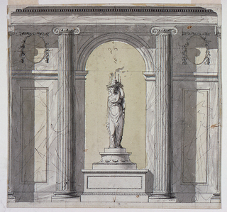 "A central arch flanked by engaged, fluted Ionic columns and two wall panels. Inside the arch stands the figure of a woman on a pedestal. She supports a fruit bowl with candles on her head and hands. The height of the wall is given as ""16 pied 50."""