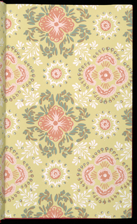 "6th edition. Reproductions of 18-19th century wallpapers. Patterns include: ""Tarrytown"", ""Guirlandes"", ""Toile Chinois"", ""Palmer House Dado"", ""Palmer House Star Border"", ""Bonne Aventure"", ""Embroidered Net"", ""Scroll & Flower"", ""Country Scenes"", ""New Milford"", ""Flowered Stripe"", ""Gold Leaves"", ""Flower Basket"", ""Bouquets"", ""Garlands"", ""Eagle Plaid"", ""Medallion & Scroll"", ""The Seasons"", ""Portland"", ""Directoire Stripe"", ""Leaves"", ""Diamond Tracery"", ""Bird & Flowers"", ""Flowers & Ribbons"", ""Carnations"", ""Roses in Bloom"", ""Diamond Damask"" and ""Eagle"". Several are shown in multiple colorways."