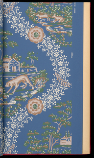 """6th edition. Reproductions of 18-19th century wallpapers. Patterns include: """"Tarrytown"""", """"Guirlandes"""", """"Toile Chinois"""", """"Palmer House Dado"""", """"Palmer House Star Border"""", """"Bonne Aventure"""", """"Embroidered Net"""", """"Scroll & Flower"""", """"Country Scenes"""", """"New Milford"""", """"Flowered Stripe"""", """"Gold Leaves"""", """"Flower Basket"""", """"Bouquets"""", """"Garlands"""", """"Eagle Plaid"""", """"Medallion & Scroll"""", """"The Seasons"""", """"Portland"""", """"Directoire Stripe"""", """"Leaves"""", """"Diamond Tracery"""", """"Bird & Flowers"""", """"Flowers & Ribbons"""", """"Carnations"""", """"Roses in Bloom"""", """"Diamond Damask"""" and """"Eagle"""". Several are shown in multiple colorways."""