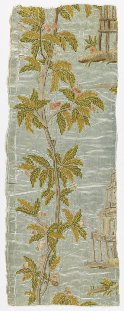 Design of an upright stem with flowering branches, and architectural motif (partly cut away).
