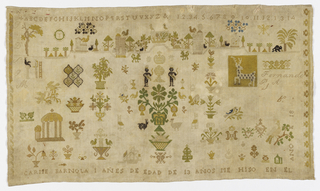 While linen worked in multicolored silk, now faded, in a design of flowers, animals, people, architectural motifs, numerals and alphabet.