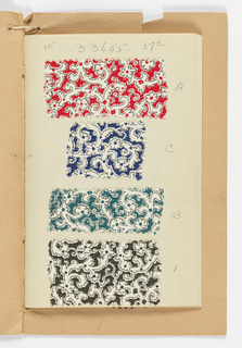 "Forty samples of silk and synthetic fiber fabrics. Six are compound cloth or double cloth with woven designs. Thirty-four are plain weave, crepes, chiffons, twills, double cloths, novelty weaves – all with printed designs. Samples are stapled to paper sheets. Bound with heavy tan paper printed: ""Chatillon, Mouly, Roussel, Inc."""