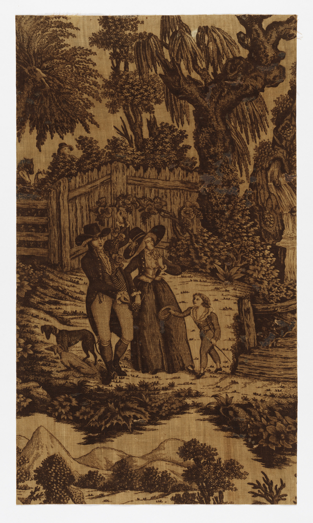 Garden scene with a man and a woman standing in the center. He is holding a branch of grape vine in his left had and in the other, a bunch of grapes. A boy stands with a hat in his hand and a cane. Two dogs on the other side. In the background, a fence, trees, shrubs and a waterfall. Printed in brown on a white ground.