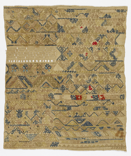 Sampler showing examples of many different geometric borders plus openwork, in yellow, tan, blue and red on a natural linen ground.