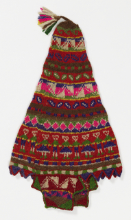 Pointed cap with earflaps and tassel in a design of stripes with geometrical patterning and one stripe with a row of alternating male and female figures in bright colors. Predominant colors are pink, green, purple, and red.