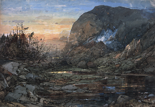 A bright winter landscape at sunrise or sunset.  A lake inlet in center foreground with low rocks at lower right and windswept rocks, brush and trees in left foreground into middleground.  Looming over the lake, in right middleground, a large ball-shaped mountain with remnants of snow a crevice.  An orange, yellow, and blue sky fills the upper left quarter of the sheet.