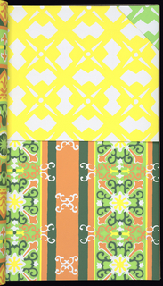 21 wallpaper designs with samples of coordinating fabrics.