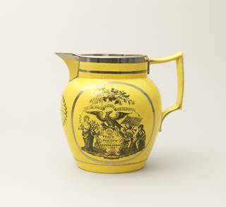 "Tapering bulbous form with circular mouth and deep spout; large, squared loop handle. Yellow glaze ground with silver luster bands and black transfer-printed decoration:  on one side, medalion with message, ""May The Tree of Liberty Ever Flourish,"" accompanied by various symbols and attributes; on the opposite side, cartouche with message ""Success to the United States of America,"" accompanied by symbols and attributes, and surmounting ribbon with ""E Pluribus Unum""; under spout, ""Peace and Prosperity to America"" within oval wreath. Yellow-glazed interior."