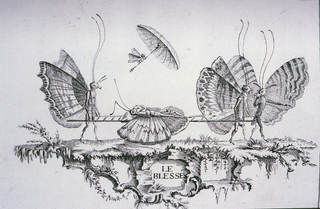 Bound Print, Plate 1, Le Blessé (The Injured), Premier Essai de Papilloneries Humaines (First Attempt of Human Butterflies)