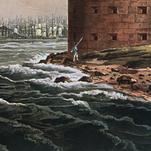 """Horizontal rectangle.  Panorama of the city in the background.  A section of Governor's Island in the foreground, right, showing part of Castle Williams.  Below, center:  """"New York, From Governor's Island / No. 20 of the Hudson River Port Folio. / Published by Henry I. Megarey New York."""" At lower left:  """"Painted by W. G. Wall.""""   At lower right:  """"Engraved by I. HIll."""""""