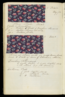 Notebook with marbled cover containing 161 samples with recipes for printing. Mostly brightly colored floral patterns.