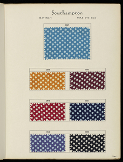 "Sample book with a terra-cotta cover embossed to simulate a twilled fabric and printed in black: ""Summer Novelty Fabrics, 1939. Moss-Still Incorporated. 663 Fifth Avenue. New York."" Contains a total of 65 samples. Printed samples include: 7 silk twills, 4 silk novelties, 2 flat silk crepes, 9 silk chiffons, 7 rayons. Solid-colored fabrics include: 2 silk plain weaves, 2 silk twills, 7 silk and cotton novelties, 1 rayon plain weave, 2 rayon novelties, 1 rayon twill. Wovens include plaids and stripes: 4 silk and 17 rayon."