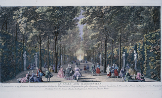 """Print of people out on a day in the park leisurely walking and conversing.  In image there is a wide path line down either side with trellises covered in vines and trees.  Along the walls are busts sitting on pedestals.    At bottom it says: """"Tranquility is the freshness in the greater heat of the east, making the grove one of the most charming places in the Gardens of Versailles.  It is enclosed by a magnificent trellis, decorated with beautiful busts of Porphyry and white marble statues.""""  [La tranquillité et la fraicheur dans les plus grandes chateurs de l'Este rendent ce Bosquet vin des plus charmant. Endroits de Jardin de Versailles. Il est en-fermé par un Magnifiq treillage, orne de beaux Bustes de Porphire, et Statues de Mabré blanc. ]"""