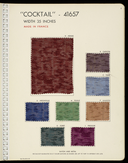 """Book with a red plastic cover with """"Ducharne"""" in white. Contains woven samples of silks, with and without metallic threads, and velvets."""