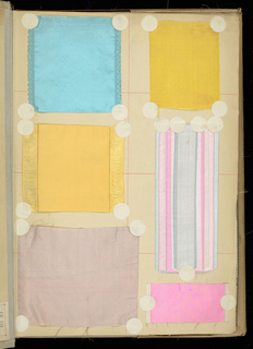 "Large book of samples of silk ribbons. Bound in gray cloth. Stickers marked with a ""D"" are domestic manufacture."