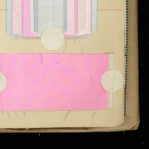 """Large book of samples of silk ribbons. Bound in gray cloth. Stickers marked with a """"D"""" are domestic manufacture."""