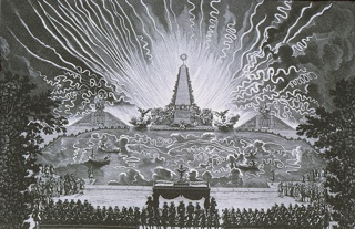 "Horizontal rectangle:  In the foreground the King sits under a canopy flanked by spectators seated in the stands.  At center, in the large basin, four men set off fireworks from boats.  Beyond, an obelisk flanked by figures of Fame.  At right and left, pyramidal structures with dolphin fountains and symbols of Victory.  In the background, rockets and fireworks.  Engraved on the plate at the lower left:  ""Le Pautre, Sculps, 1676.""  Inscription at lower left:  ""Cinquieme Journee.  Feu d'artifice sure le canal de Versailles.""  Lower right:  ""Dies Quintus Incendium ludicrum e pyrio puluere super alueum Versaliarum."""
