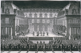 Horizontal rectangle: In the foreground a row of guards and behind and at sides, the audience.  At center, the stage, in a court of the chateau.  Torches and candles light the architecture and the stage.