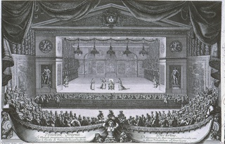 "Horizontal rectangle:  In the foreground a banner and above and at sides an audience.  At center, stage with several women, man sitting in chair.  Beyond, through arches, the Grotto.  Engraved on the plate at lower left: "" le Pautre, Sculps. 1676.""  Inscription on banner.  Lower left:  ""Troisieme Journee.  Le Malade imaginaire, Comedie representee dans le Jardinde Versailles devant la Grotte.""  Lower right:  ""Dies tertius.  Dokesino son, feu aeger imaniarius, Comaedia aeta in Hortis Versaliarum ad fores Cryptae."""