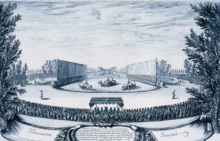 Horizontal rectangle:  In the foreground a banner, and above a frieze of the back of an audience.  At center, a theatre in the middle of the great pond, sea monsters in the pond.  The Palace of Alcina.