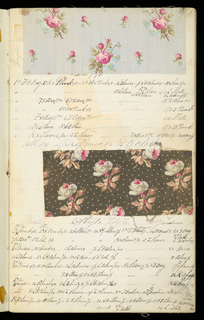 Textile sample book with formulas for dyestuffs.